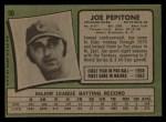 1971 Topps #90  Joe Pepitone  Back Thumbnail