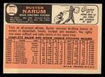 1966 Topps #274  Buster Narum  Back Thumbnail