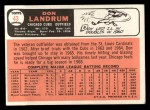 1966 Topps #43 xBTN Don Landrum   Back Thumbnail