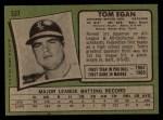1971 Topps #537  Tom Egan  Back Thumbnail