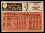 1966 Topps #342  Bob Humphreys  Back Thumbnail