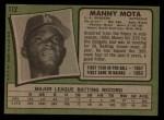 1971 Topps #112  Manny Mota  Back Thumbnail