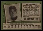 1971 Topps #214  Al Ferrara  Back Thumbnail