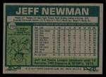 1977 Topps #204  Jeff Newman  Back Thumbnail