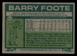 1977 Topps #612  Barry Foote  Back Thumbnail