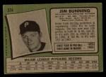 1971 Topps #574  Jim Bunning  Back Thumbnail