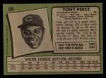 1971 Topps #580  Tony Perez  Back Thumbnail