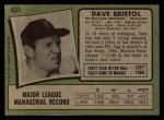 1971 Topps #637  Dave Bristol  Back Thumbnail