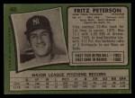 1971 Topps #460  Fritz Peterson  Back Thumbnail