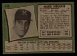1971 Topps #415  Mike Hegan  Back Thumbnail