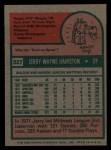 1975 Topps #327  Jerry Hairston  Back Thumbnail