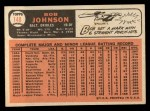 1966 Topps #148  Bob Johnson  Back Thumbnail