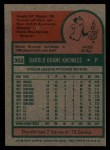 1975 Topps #352  Darold Knowles  Back Thumbnail