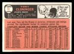 1966 Topps #10  Tony Cloninger  Back Thumbnail