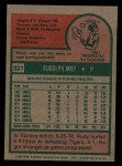 1975 Topps #321  Rudy May  Back Thumbnail