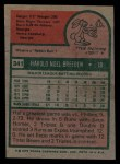 1975 Topps #341  Hal Breeden  Back Thumbnail