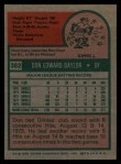 1975 Topps #382  Don Baylor  Back Thumbnail