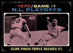 1971 Topps #199   -  Ty Cline / Rich Hebner 1970 NL Playoffs - Game 1 - Cline Pinch-Triple Decides It Front Thumbnail