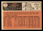 1966 Topps #425  Bob Veale  Back Thumbnail