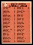 1966 Topps #218   -  Norm Cash / Tony Conigliaro / Willie Horton AL HR Leaders Back Thumbnail