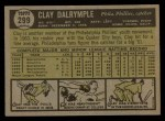1961 Topps #299  Clay Dalrymple  Back Thumbnail