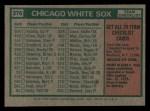 1975 Topps Mini #276   -  Chuck Tanner White Sox Team Checklist Back Thumbnail