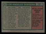 1975 Topps Mini #361   -  Walter Alston Dodgers Team Checklist Back Thumbnail