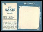 1961 Topps #163  Art Baker  Back Thumbnail