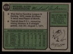1974 Topps #619  Mike Anderson  Back Thumbnail