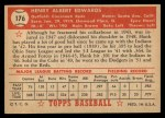 1952 Topps #176 CRM Hank Edwards  Back Thumbnail