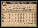 1967 Topps #492   Pirates Team Back Thumbnail