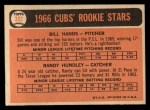 1966 Topps #392   -  Bill Hands / Randy Hundley Cubs Rookies Back Thumbnail
