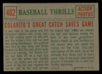 1959 Topps #462   -  Rocky Colavito Colavito's Great Catch Saves Game Back Thumbnail