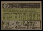 1961 Topps #202  Al Neiger  Back Thumbnail