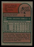 1975 Topps #585  Chris Chambliss  Back Thumbnail