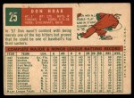 1959 Topps #25  Don Hoak  Back Thumbnail