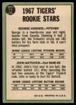 1967 Topps #72   -  George Korince / John Matchick Tigers Rookies Back Thumbnail