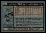 1980 Topps #482  Rickey Henderson   Back Thumbnail