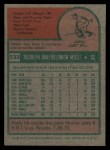 1975 Topps #533  Rudy Meoli  Back Thumbnail
