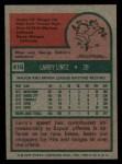 1975 Topps #416  Larry Lintz  Back Thumbnail