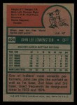 1975 Topps #424  John Lowenstein  Back Thumbnail