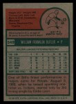 1975 Topps #549  Bill Butler  Back Thumbnail