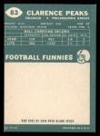1960 Topps #83  Clarence Peaks  Back Thumbnail