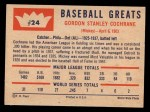 1960 Fleer #24  Mickey Cochrane  Back Thumbnail