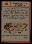 1962 Topps #101   Vikings Team Back Thumbnail