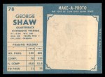 1961 Topps #78  George Shaw  Back Thumbnail
