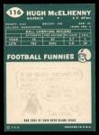 1960 Topps #116  Hugh McElhenny  Back Thumbnail