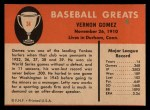 1961 Fleer #34  Lefty Gomez  Back Thumbnail