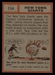 1962 Topps #114   Giants Team Back Thumbnail