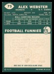 1960 Topps #75  Alex Webster  Back Thumbnail